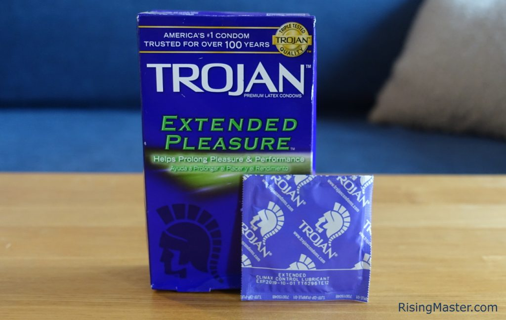 photo of the box and an example of trojan extended pleasures condoms