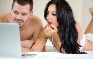 Couple watching erotica together