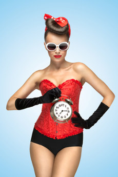 image of a sexy woman with clock