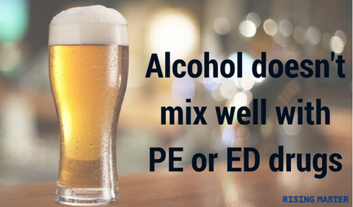 image with the writing 'alcohol doesn't mix well with premature ejaculation and erectile dysfunction drugs'