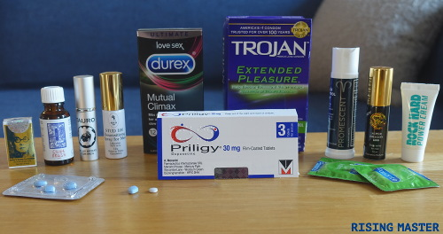 photo of different desensitizing sprays, numbing condoms and erectile dysfunction treatments together