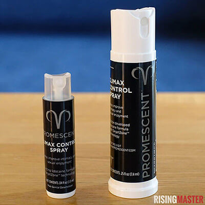 photo of the standard size and trial size of promescent delay spray