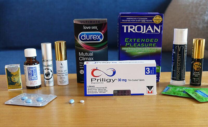 photo of six different delay sprays, priligy, viagra and numbing condoms