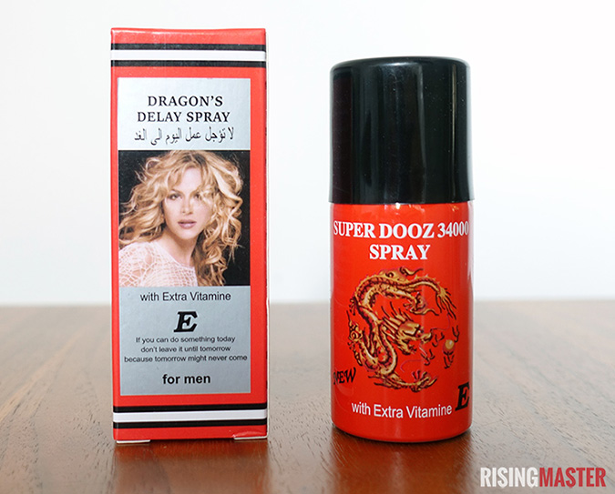 photo of the dragon's delay spray, also known as super dooz 3400. One bottle and the original packaging.